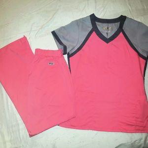 Grey's Anatomy Scrub Set Pink w/Grey Trim S Petite